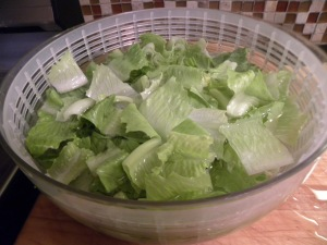 Lettuce bagging in progress