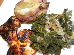 BBQ chicken greens sweet potato